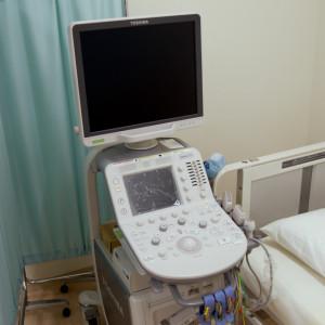 心臓:超音波を使って心臓の形や動き、血液の流れを画面に表示する検査です。心疾患の診断、病状の評価のために行います。動悸・息切れ、胸痛・胸部圧迫感など心疾患が疑われる方、心雑音や心電図異常のある方、心筋梗塞・狭心症、弁膜症、心筋症、心不全など心疾患を指摘されている方が対象になります。上半身の衣服を脱いでいただきゼリーのついたプローブ(ここから超音波がでます)で心臓を見ていきます。痛みはありません、また検査のために食事の制限はありません。 腹部:超音波を使って腹部臓器(肝臓、胆のう、腎臓、脾臓、膵臓など)の形状を評価する検査です。脂肪肝、胆石、胆のうポリープ、腎結石など腹部臓器の疾患の診断、病状の評価のために行います。検査は食事前に行います。 頚動脈:頚動脈の動脈硬化の程度を見る検査です。高血圧症、糖尿病、脂質異常症、喫煙など動脈硬化の危険のある方が対象になります。動脈硬化病変(プラーク)のある方はこれらの疾患を充分にコントロールする必要があります。